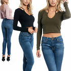 Women's Casual Crop Top Tank Strappy Long Sleeve Scoop Neck Shirt Lace Designed