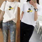 Women's Casual Bee Embroidery Short Sleeve Blouse Ladies Tops T-shirt Top
