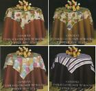 Fabric Tablecloth and Topper Set Fruit Stripe