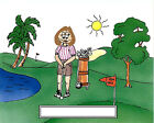 """Golfer Female Cartoon Character Personalized Matted Print  Product is 11"""" x 14"""""""