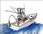 Boat Fishing  Cartoon Character Personalized Matted Print  Product  11 x 14
