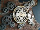 Large Wall Clock Round Steampunk rotating gears Metal gold silver big restaurant