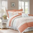 9pc Coral & White Cottage Chic Lace Duvet Cover Bedding S...