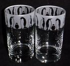 "New Etched ""Penguin Parade"" Hiball Glasses -Beautiful Gift Or For Keeps!"