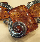 1 of 2 Tibetan Silver Pressed Simulated Amber DiagnalRect. Necklace-Free Shippin