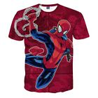 New Summer Men 3D Spider-Man Print Funny T-Shirt Casual Red GraphicTee M to 2XL