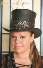 Steampunk Hat Futurist Traveller Sci Fi Gears Leather HIGH Top Hat