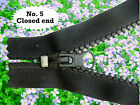 BLACK *CLOSED ENDED ZIP* No 5  CHUNKY PLASTIC TEETH/ /from 6  to 35 inches
