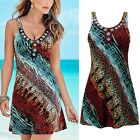 Women Summer Floral Sleeveless Evening Party Beach Halter Casual Mini Dress New
