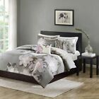 6pc Charcoal Grey & Purple Floral Duvet Cover Bedding Set...