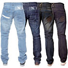 New Mens ENZO Regular Leg Straight Fit Stonewash Denim Blue Jeans 28-42