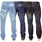 New Mens ENZO Regular Leg Straight Fit Stonewash Denim Blue Jeans All Sizes