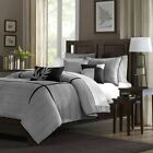 Luxury 6pc Grey & Black Microsuede Duvet Cover Bedding Set AND Decorative Pillow image