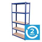 5TIER WIDE HEAVY DUTY BOLTLESS BLUE METAL WAREHOUSE INDUSTRIAL RACKING STORAGE <br/> * H148Cm X W76Cm X D31Cm * 100Kg / Shelf * Next Day UK*