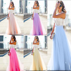 Women Long Chiffon Lace Evening Formal Party Ball Gown Prom Bridesmaid Dress New