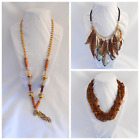 Unique Vintage - Now Jewelry Amber Brown Feather Long Choker Gold Tone Necklaces