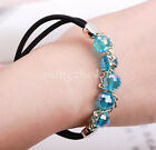 Cute Women Girls Elastic Rope Glass Crystal Bead Hair Band Ponytail Holder New