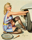 Vintage Pin-Up Art Decor Car Girl Oil Painting HD Print On Canvas Wall Art