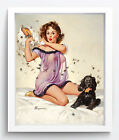 Vintage Pin-Up Decor SEXY GIRL AND DOG Oil Painting HD Print On Canvas