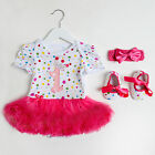 Spotty first birthday tutu romper with headband shoes Baby girl Princess Party
