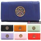 WOMENS NEW MEDALLION DECORATION FAUX LEATHER WALLET PURSE