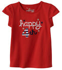 NWT Jumping Beans, Happy 4th Red T-Shirt, Toddler Girls Tee Sizes 3T 4T