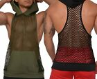 Mens Mesh Bodybuilding Gym Muscle Stringer Sleeveless Hoodie Workout w/ Pockets