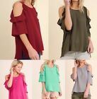 Umgee boho bohemian chic cold shoulder blouse top with ruffle detail S-L