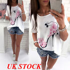 UK Fashion Women Short Sleeve Tops Summer Beach Casual Loose Blouse Top...