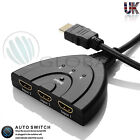 hdmi 3 Port Switch Switcher Splitter Selector HUB Box Cable HDTV 1080P AUTO UK
