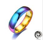 6mm Rainbow Colorful Titanium Stainless Steel Classical Rings Wedding Band Ring