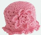 HAND CROCHETED BABY GIRLS SUN HAT 0-2 YEAR OLD shower gift 100% cotton pink anny