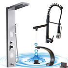 Black Shower Panel Column Tower System Rain Jets Mixer Basin Kitchen Faucet Tap