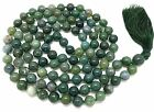 Moss Agate Japa Mala Necklace with 108 beads + 1 larger guru bead