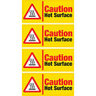 4 x Caution Hot Surface Vinyl Sticker RED Hazard Health and Safety Business Shop