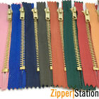 5 x JEANS DENIM BRASS ZIPS ZIPPERS ( CHOICE OF 15 COLOURS & 3 LENGTHS )