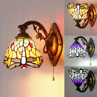 Stained Glass LED Wall Sconce Single Lamp Tiffany Indoors Wall Light Dragonfly