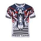 Summer 3D US Flag Print T Shirt Casual Short Sleeve Round Collar Graphic Tee Top