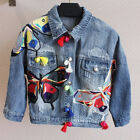 Fashion Women's 3/4 Sleeve Lapel Embroidered Denim Jeans Jacket Coats Outwear