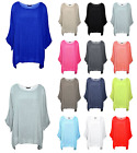 New Italian Lagenlook Ladies  Plain Loose Batwing Cotton Kimono Sleeve Baggy Top
