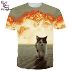 Brand Raging fire Cat Tops tee Men's Short Sleeves T-shirts Casual 3D Print