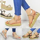 Ladies Womens Studded Low Wedge Espadrille Sandals Platform Rose Gold Shoes Size