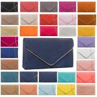 LADIES WOMENS NEW ENVELOPE FAUX SUEDE METAL CHAIN TRIM EVENING CLUTCH BAG PURSE