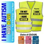 Autism Personalised Kids,Childs Hi-Vis Safety Vest Jacket High Visibility Hi Viz