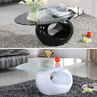 Modern Design Glass Oval Coffee Table Contemporary Black White Living Room