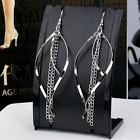 Retro Sliver Gold Cambered Long Tassel Chain Earrings Dangle Hook Accessroies