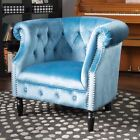 Aries Chesterfield Button-Tufted Scrolled Club Chair with Nailhead Trim