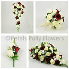 Silk Wedding Flowers by Petals Polly, BOUQUET POSY BUTTONHOLES in BURGUNDY IVORY