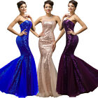STUNNING SEQUINED WOMEN NEW WEDDING LONG FORMAL PROM GOWN MERMAID FISHTAIL DRESS