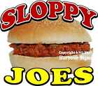 Sloppy Joes DECAL (Choose Your Size) Sno Kone Food Truck Sign Concession